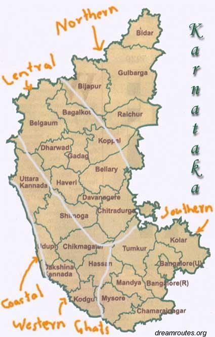 image map of Karnataka